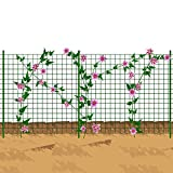 Mr Garden Wire Mesh Trellis, PVC Coated Plant Trellis, 4x10ft with 10pcs of Posts, Green