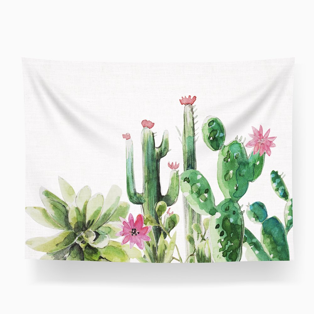 MelonLuchi Cactus Watercolor Landscape Succulent Wall Tapestry for Living Room Bedroom Dorm Home Decor (Style2) by MelonLuchi