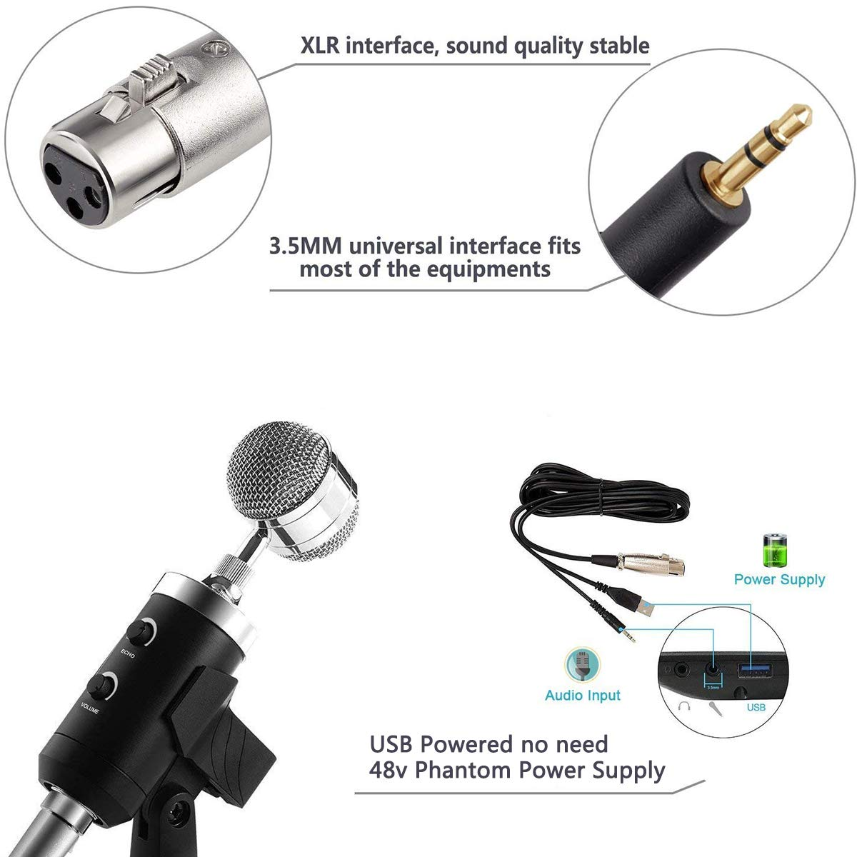 Usb Pc Microphone Zealsound Professional Studio Powered Stereo Computer Speaker Electroniccircuit Condenser Kit With 35mm Xlr Power Pop Filter Stand For