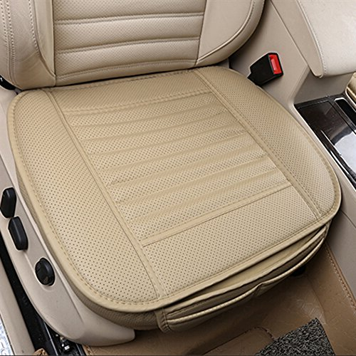 Comfortable and Breathable Four Seasons General Pu Leather Bamboo Charcoal Breathable Car Interior Seat Cushion Cover Pad Mat for Office Chair Auto Car Supplies (Cream, 1 Pack)