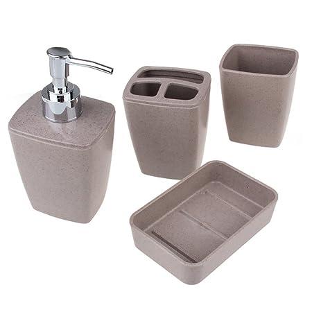 4 piezas Juego de accesorios de baño, cepillo de dientes titular ...