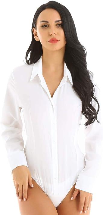 IEFIEL Body Camisa para Mujer Blusa Manga Larga Bodis Camiseta Color Sólido Mono Bodycon Traje Formal Oficina Bodysuit Shirt: Amazon.es: Ropa y accesorios