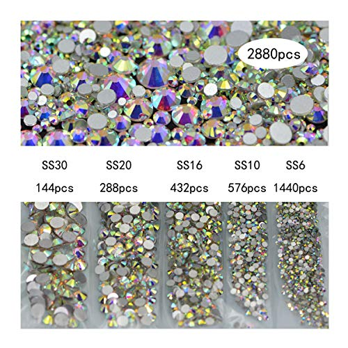 Crystal 16 Beads Facet (Nancybeads Nail AB Clear Nail Art Rhinestones Round Beads Flatback Glass Charms Gems Stones 2880pcs 5Size for Nails Decoration Makeup Clothes Shoes (Mixed SS6 10 16 20 30, Crystal AB))