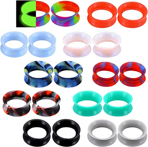 10 Pairs Thin Silicone Flexible Ear Skin Tunnels Earlets Plugs Gauges 5mm-30mm