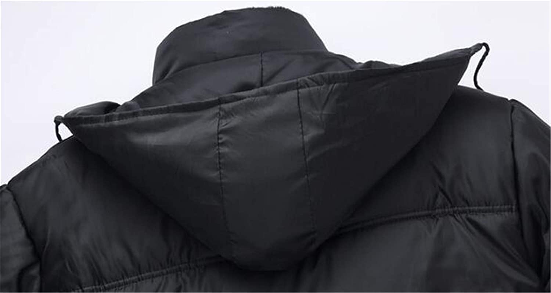 JuJuTa Mens Fleece Lined Hooded Warm Loose Outwear Thickened Parkas Coats