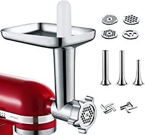 Metal Food Grinder Attachments for KitchenAid Stand Mixers, Durable Meat Grinder, Sausage Stuffer Attachment Compatible with All KitchenAid Stand Mixers, includes Three Sausage Stuffer Tubes