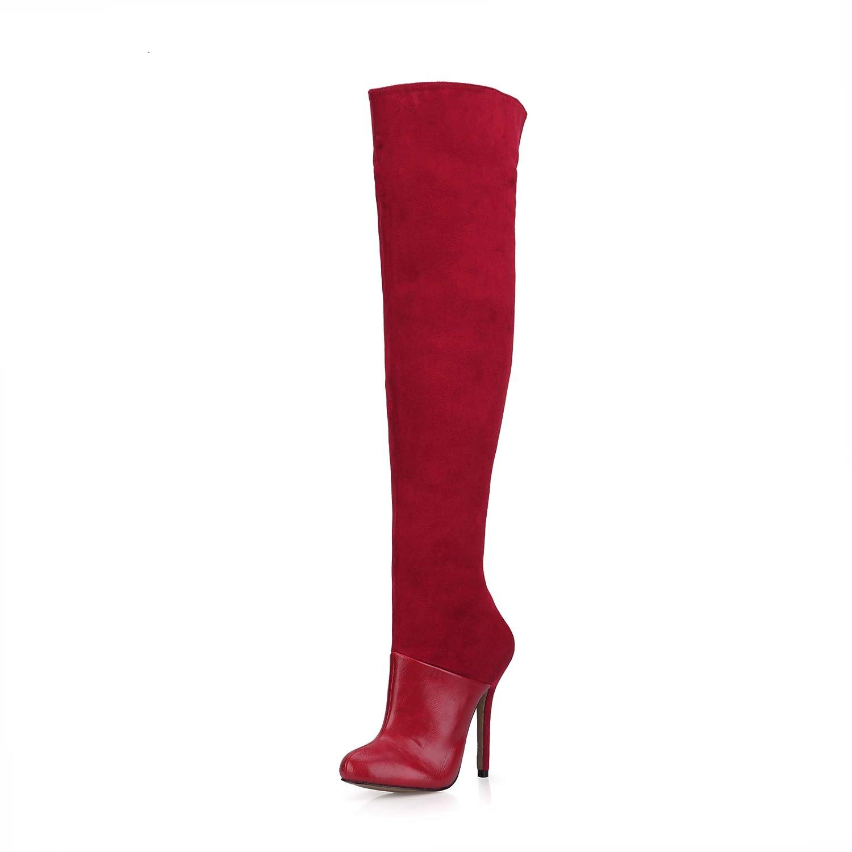 Best 4U Frauen Herbst Herbst Frauen Stiefel Schuhe 12 cm High Heels PU Stoff Wildleder Kniehohe Stiefel Spitz Zipper Schuhe Rot f388b7