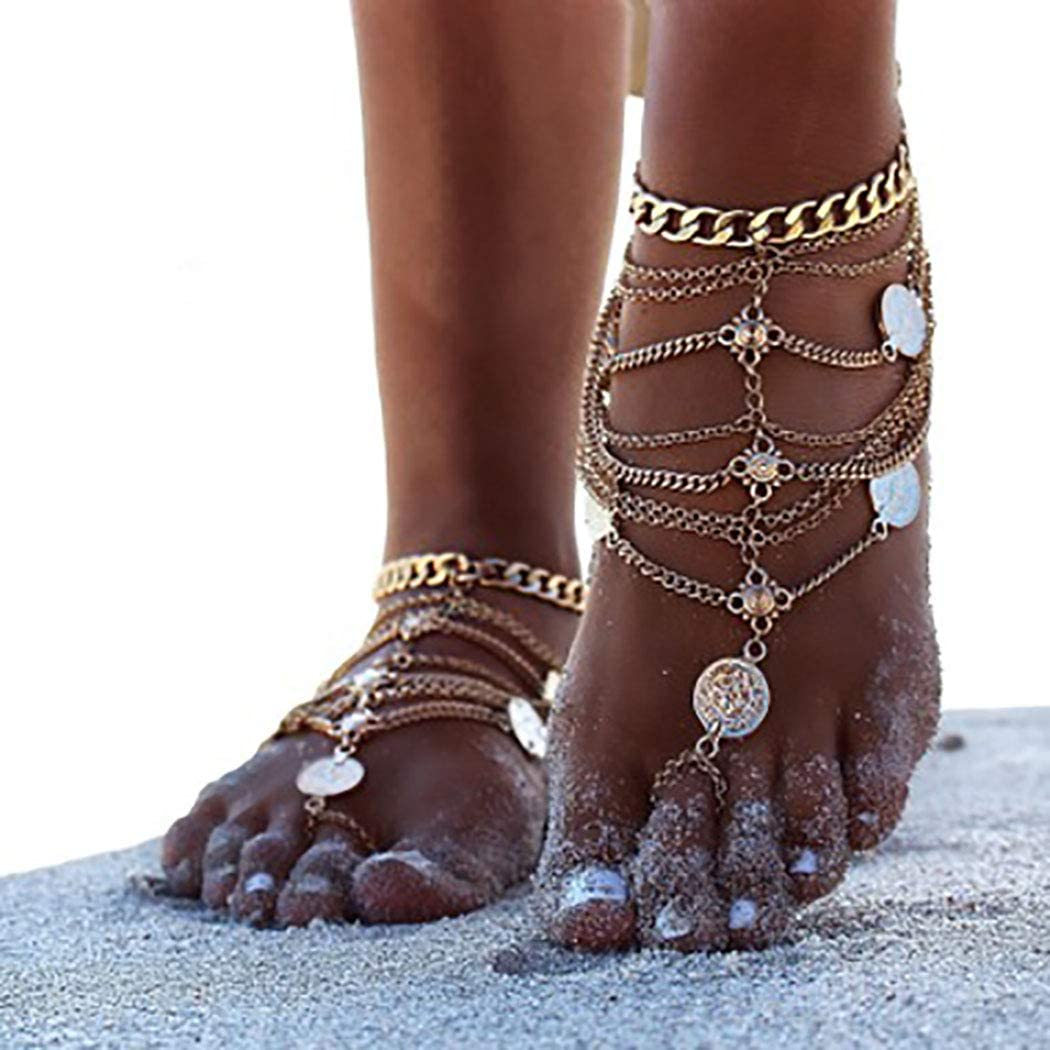 Morebrave Beach Layered Anklet Sequins Anklets Chain Tassel Foot Jewelry Foot Chain for Women and Girls (GOLD)(Pack of 1)