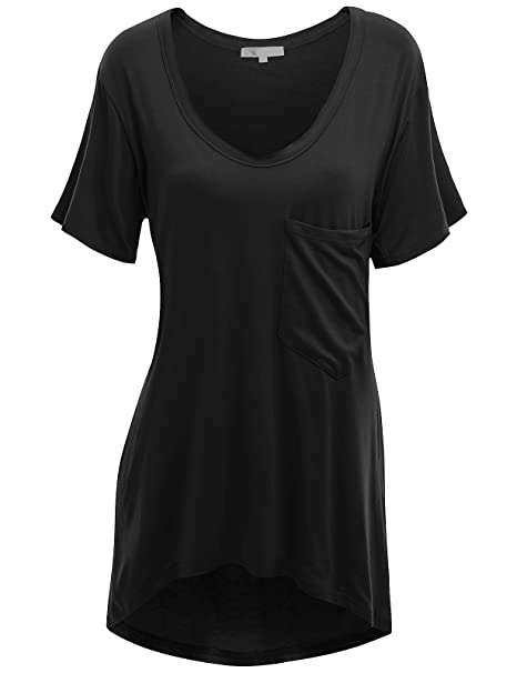 newest style of matching in colour new lower prices Doublju Womens Short Sleeve Deep V-Neck Oversized T-Shirt Dress with Chest  Pocket