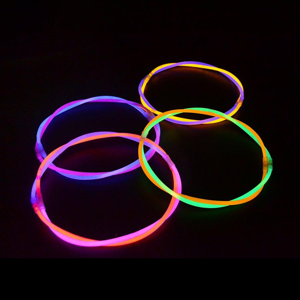 200 Pcs 11'' Glow Sticks Necklaces Pack - Light up Toys Glowsticks Bracelets Assorted Colors In The Dark Light Sticks by Novelinks (Image #8)
