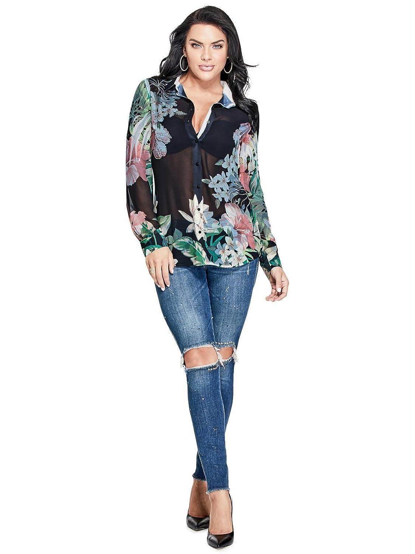 Guess Chemisier Jeans w82h06 clouis Noir: Amazon.fr: Vêtements et  accessoires