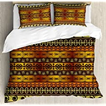 Primitive Duvet Cover Set King Size by Ambesonne, African Indigenous Motifs with Ethnic Ornament Traditional Tribal Figures Print, Decorative 3 Piece Bedding Set with 2 Pillow Shams, Brown Yellow
