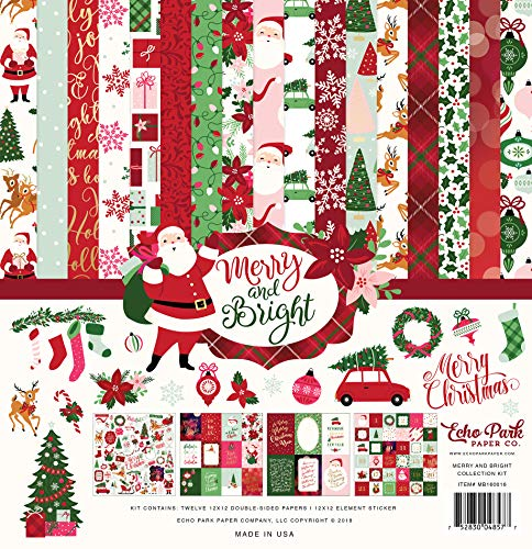 Echo Park Paper Company MB160016 Merry & Bright Collection Kit Paper, Red/Green/Pink/Black/Gold/Mint from Echo Park Paper Company