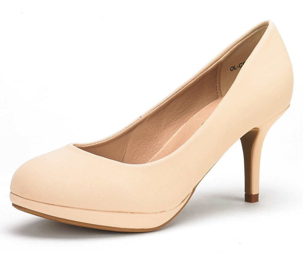 DREAM PAIRS Women's OL-CR Nude Suede Low Heel Stiletto Pump Shoes - 10 M US
