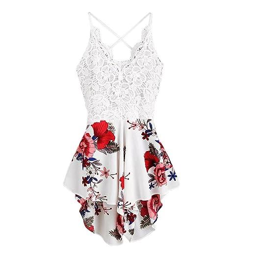 22b33794f29 Women s Boho Crochet V Neck Halter Backless Floral Lace Romper Jumpsuit ...