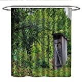 Anshesix OuthouseUnique Shower curtainWorn Out Cottage Hut in Abandoned Forest Spring Time Vivid