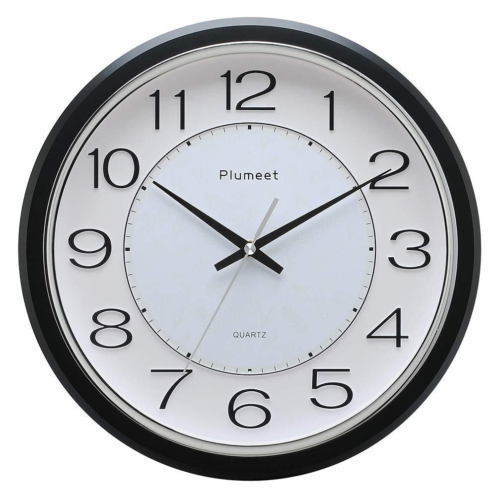 Plumeet 12.5'' Silent Wall Clock, Non Ticking Classic Retro Wall Clock Decorative Living Room, Bedroom, Outdoors, Battery Operated Quartz Large Quiet Wall Clock (Black)