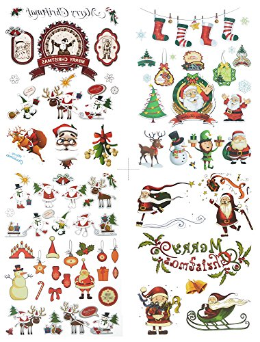 [COKOHAPPY 4 Sheets Christmas Temporary Tattoo , Cute Elk Snowman Santa Claus Flash Tattoo , Easy to Apply and Long Lasting for Kid] (Temporary Christmas Tattoos)
