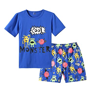 48c85ef42228 Amazon.com  MyFav Big Boys Pajamas 2 Piece Short PJS Cute Cartoon ...