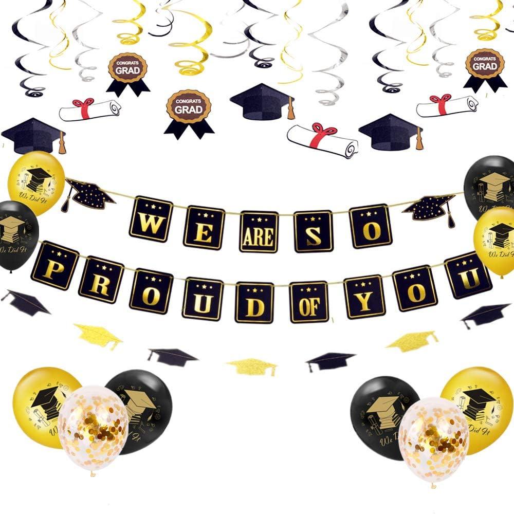 JeVenis Set de 25 Estamos muy orgullosos de ti Banner de graduación en globo Felicitaciones Banner Decoraciones para fiestas de graduación