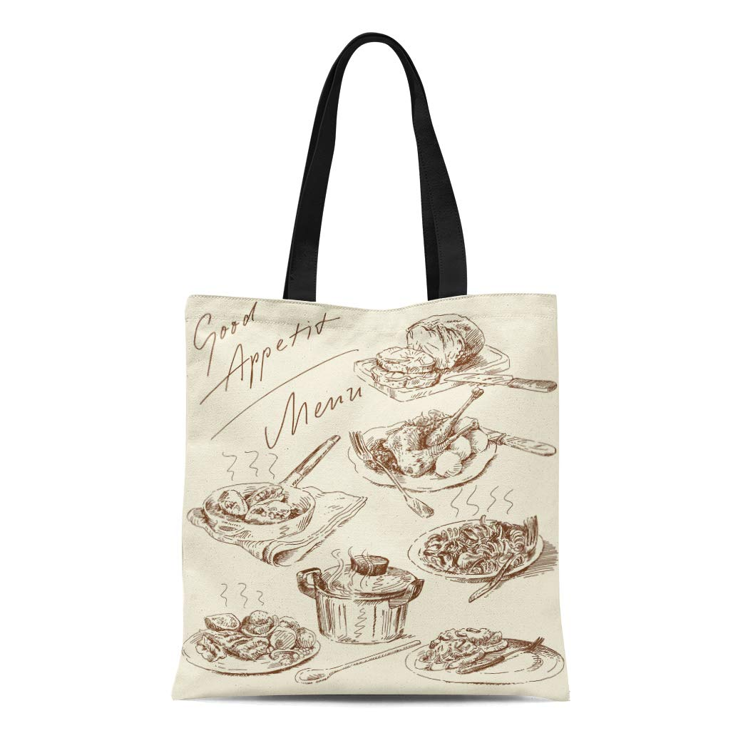 Semtomn Canvas Bag Resuable Tote Grocery Adorable Shopping Portablebags Food Original Pasta Italian Restaurant Meat Meal Retro Chicken Natural 14 x 16 Inches Canvas Cloth Tote Bag