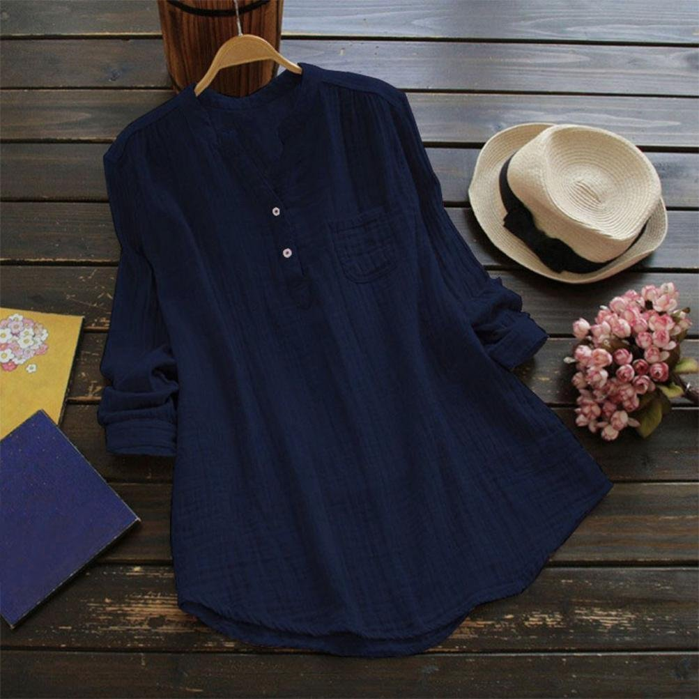 Rambling New Women Stand Collar Long Sleeve Casual Cotton Loose Soft Tunic Tops T Shirt Blouse Plus Size Navy by Rambling (Image #2)