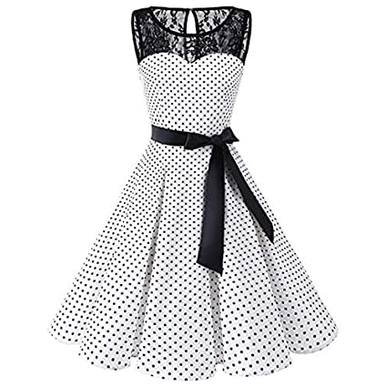 6f2b1a8a4ee Image Unavailable. Image not available for. Color  Snowfoller Women Polka  Dot Lace Dress Casual Patchwork Sleeveless Hepburn Style Swing Dress Vintage  ...