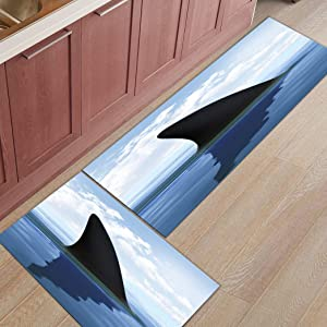 Sabull 2 Piece Microfiber Kitchen Rugs Deep Sea Shark Fin Pattern Bath Rug Doormat Entrance Stain Resistant Carpet