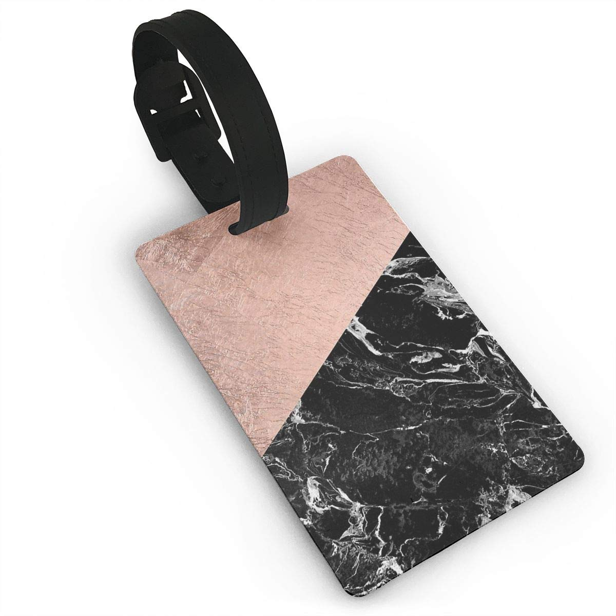 Set of 2 Chic Modern Rose Gold Black Marble Color Block Luggage Tags Suitcase Labels Bag Travel Accessories