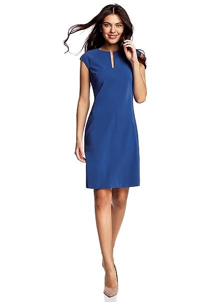oodji Collection Mujer Vestido de Tubo con Escote Decorativo, Azul, ES 38 / S