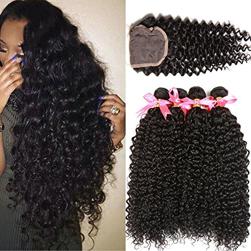 Jaycee Hair Brazilian Virgin Curly Hair Closure 3 Bundles With 1 Piece Free Part Lace Top Closure 100% Human Hair Bundles With Silk Closure Natural Color (16 18 20+14free part lace closure)
