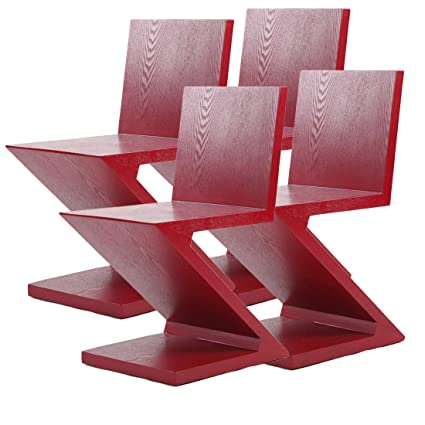 Amazon Com Mlf Gerrit Thomas Rietveld Zig Zag Chair Red