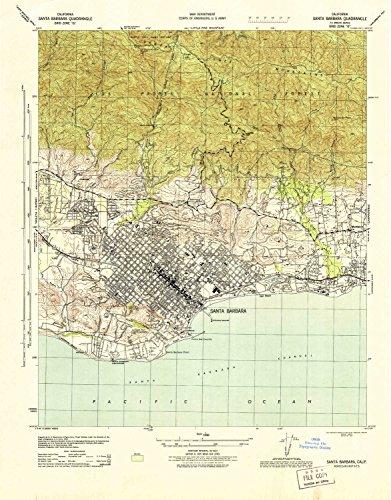 YellowMaps Santa Barbara CA topo map, 1:31680 Scale, 7.5 X 7.5 Minute, Historical, 1944, Updated 1944, 21.8 x 17 in - ()