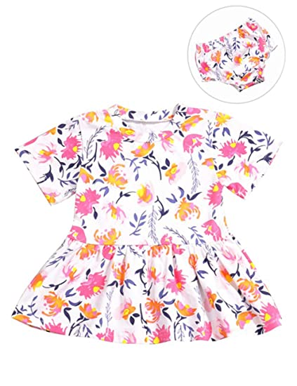 452bab05151a4 Newborn Baby Girls Clothes Short Sleeve Cute Floral Printed Dress+Short  Pants Summer Outfits 2Pcs