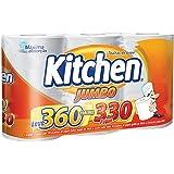 Papel Toalha Kitchen Jumbo Folha Dupla - Pack com 3 rolos de 110 unidades de 19x22 cm cada