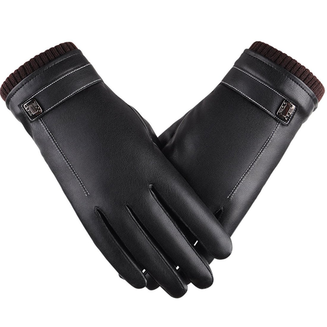 King Star Men Touchscreen PU Leather Gloves Texting Driving Winter Warm Gloves