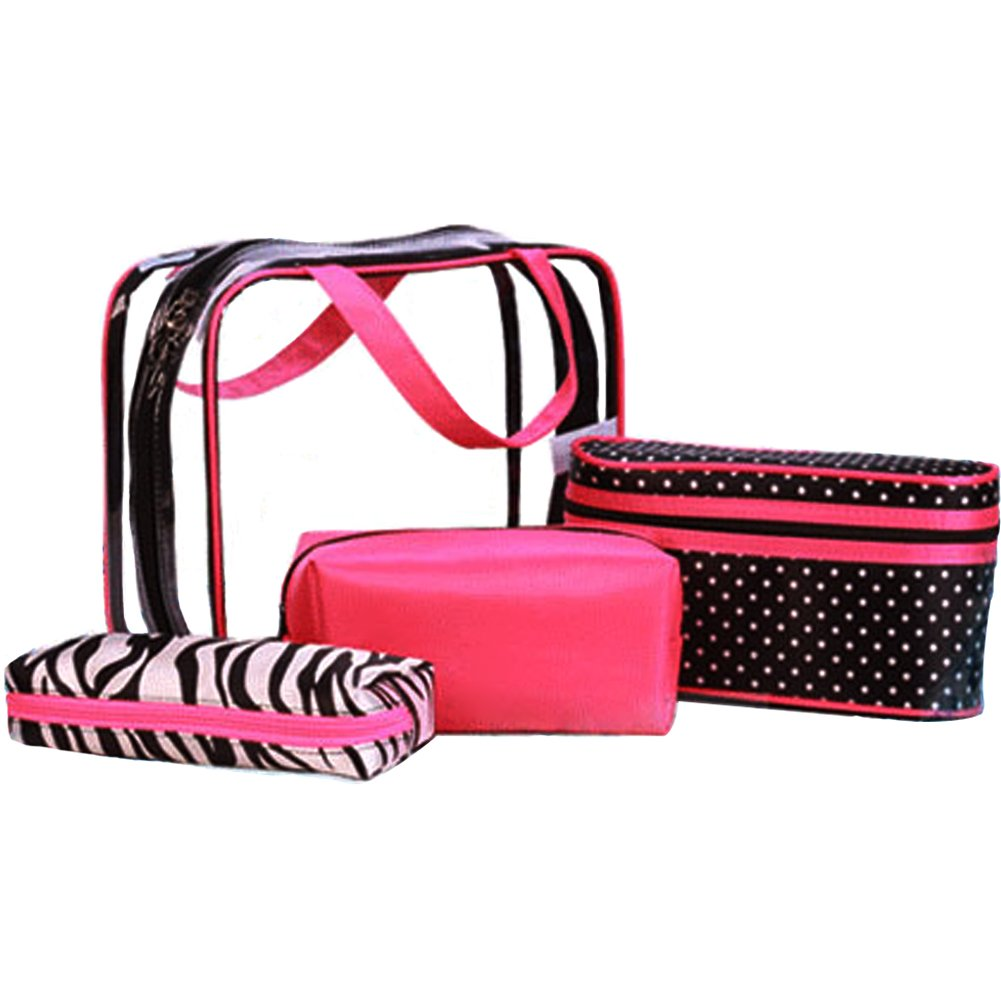 TINTON LIFE 4 in 1 Portable Carry On Women Travel Cosmetic Bag Set Toiletry Makeup Bag PVC Clear Handbag Organizer