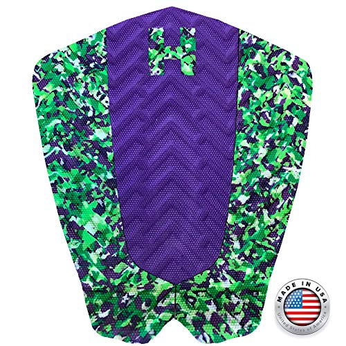 Hammer The Peak Traction Pad - Purple & Lime Green Surf Traction - Tail Pad - Deck Grip - Made in The USA