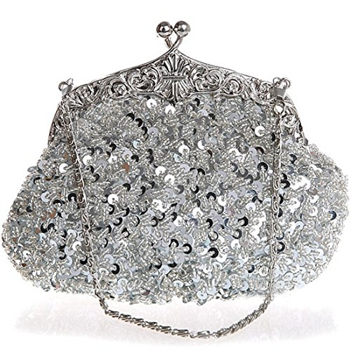 Clutch Sequin Wedding Belsen Evening Women's Silver Bags UBqwxHT