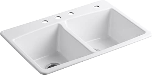 KOHLER K-5846-4-0 Brookfield Top-Mount Double-Equal Bowl Kitchen Sink with 4 Faucet Holes, White