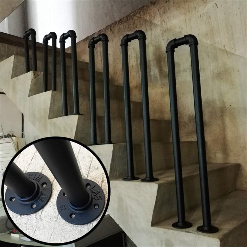 Balustrade en Forme de U en Fer forg/é Noir Kit Complet Main Courante Industrielle antid/érapante de Tube Anti-d/érapant de Mur de Grenier dint/é YIKE-Main courante descalier 2.79 ft Main Courante