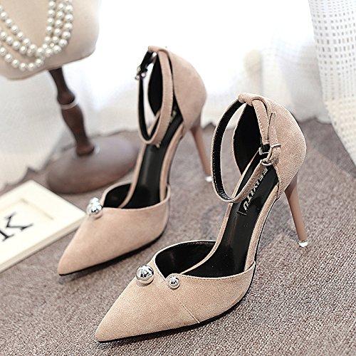 Verano Mujer zapatos de cuero sandalias de verano tacones altos,37 gold apricot
