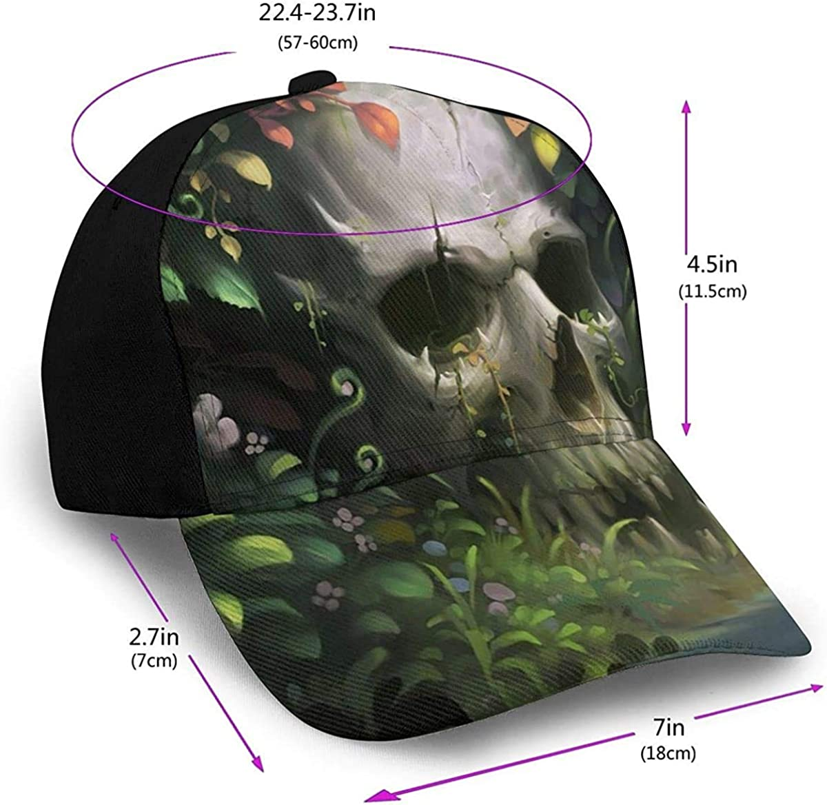 Skulls and Flowers Floral Lightweight Unisex Baseball Caps Adjustable Breathable Sun Hat for Sport Outdoor Black
