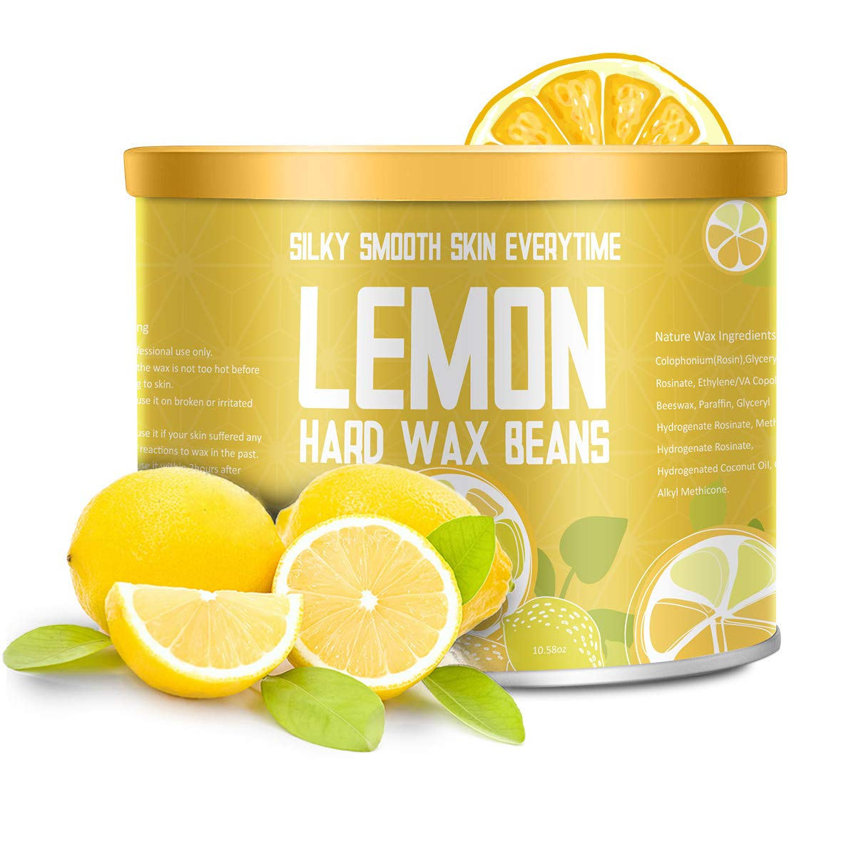 【Lemon Essential Oil】Yeelen Essential Oil Hard Wax Beans Hair Removal Wax Beads with 10 Applicator Sticks for Facial Body Brazilian Bikini At Home Waxing, 10.58oz/300g