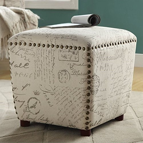 Coaster Home Furnishings 501108 Ottoman Upholstered in French Print Fabric