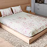 Spaces Courtyard 210 TC Cotton Double Bedsheet with 2 Pillow Covers - Beige