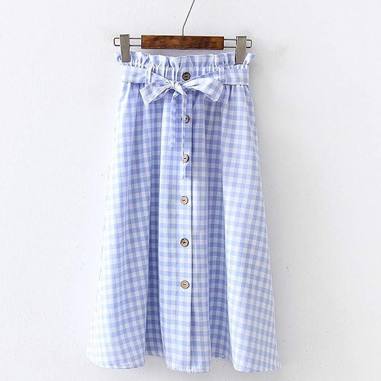 Qijinlook 💖 Cuadros Faldas Larga Mujer/Botón de una Sola Fila ...