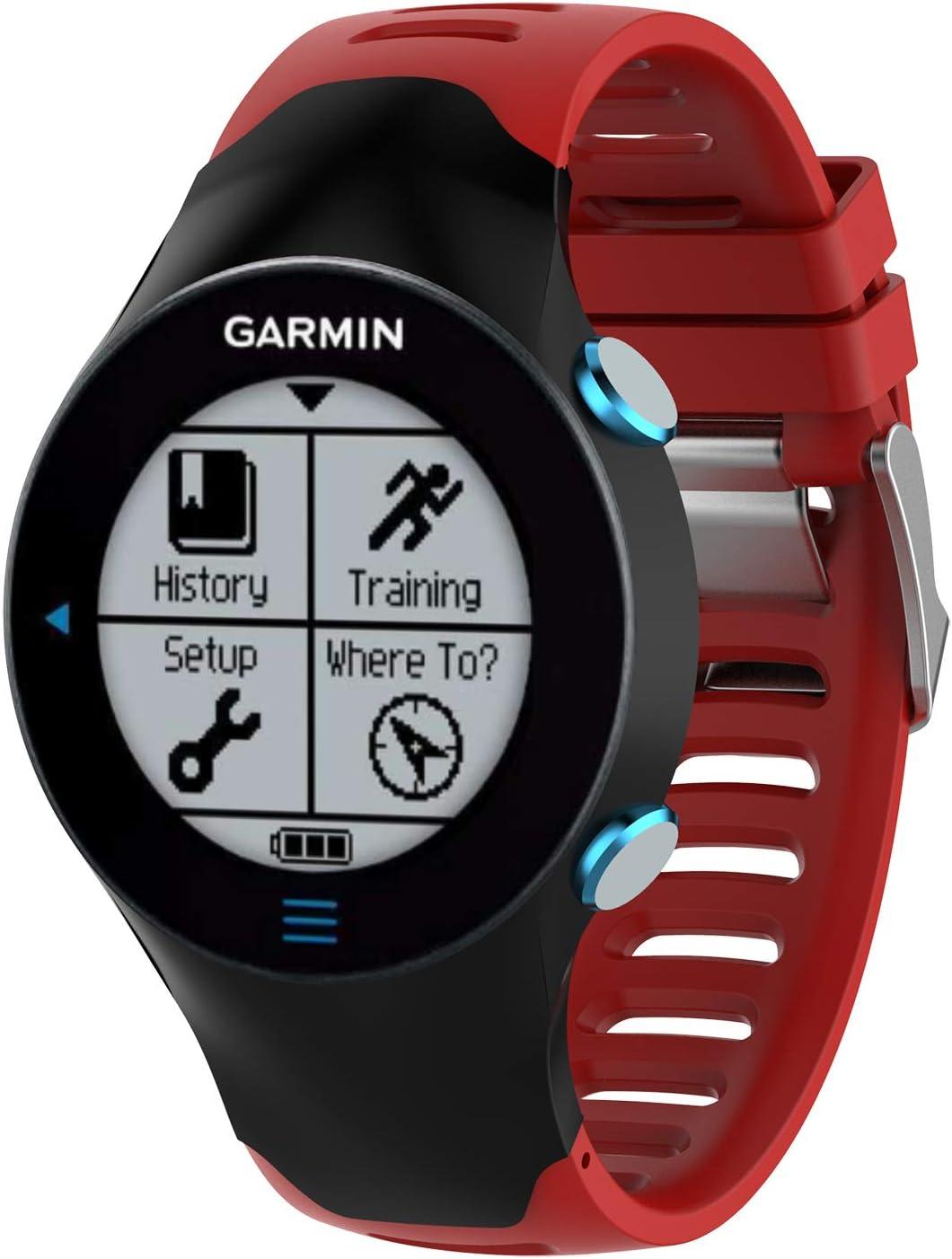 Yikamosi Compatible con Garmin Forerunner 610 Correa,de Silicona Suave Correa de Reloj Stainless Steel Clasp Respirable Reemplaz Atar con Correa para Garmin Forerunner 610(Red)