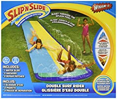 What can be better than to spend summer time outside? Spend it with fun! Grab your friends and wash off the summer heat by sliding down the original yellow Slip 'N Slide Surf Rider Double by Wham-O! This 16ft Slip 'N Slide will be a perfect a...