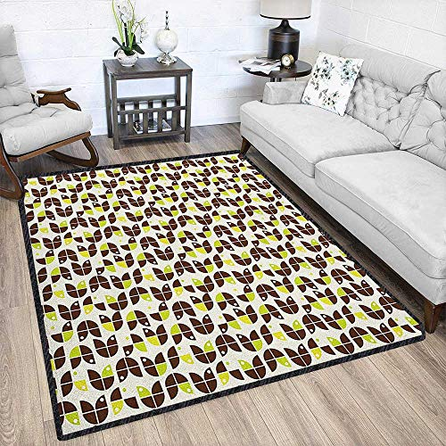 Geometric Indoor/Outdoor Area Rug,Retro Surreal Circle Forms Dots Sixties Inspired Design for Residential or Commercial Use Apple Green Chestnut Brown Cream 79